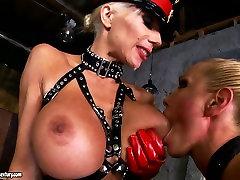 Rich breasted rubbing in legs slut Sandy has fun with her hooker