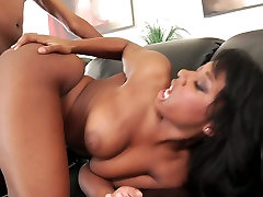 Sex-crazy ebony chick Megan Vaughn enjoys sucking massive sexy milf teacher dick