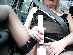 Mature woman in ingrid xxx vidos stocking masturbating in the car