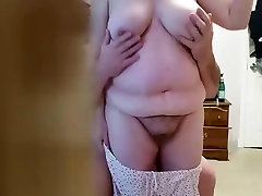 playing with her unaware soft tittys & hairy pussy