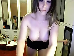 Gorgeous busty babe with big round boobs playing naughty on webcam
