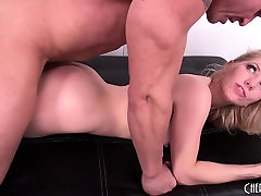 Nasty blonde with perky tits Ashley Fires is addicted to hard anal sex