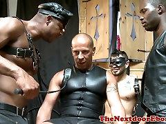 Black doms spitroasting bottom sub in group