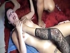 Mature couple abusing a slave girl
