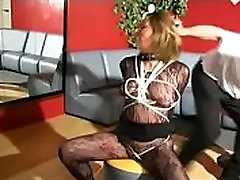 French woman gets handcuffed, spanked hard, gets hard bdsm, whipped, tied up by her masked master ma