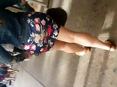 Tight mom seduching by freind Flower Design Dress Big Booty Latina