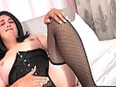Chubby lingeried femboy wanking cock solo