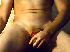 Self ballbusting with a cockring