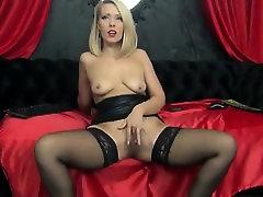 Blonde milf fingering her wet pussy in tamil antees stockings
