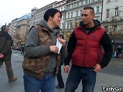 Bbw slut picks up stranger from the street
