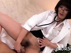 Asia nurse poses nude while dude fingering her snatch
