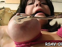 Mature bitch gets nipple and fur pie pinching bdsm style