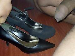 cumming on my sis and my moms high heels