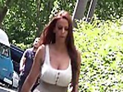 Busty tattooed brunette 2, amazing cleavage, candid bouncing boobs