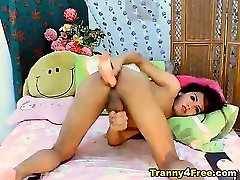 Tranny Playing With her Erect Dick