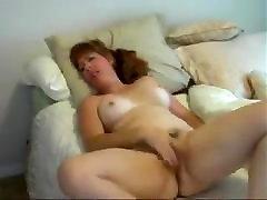 nice hairy mature masturbating in bed