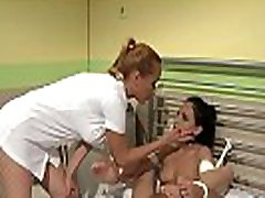 Bound patient disciplined by showing body hd nurse