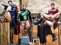 Brandon Cody & Colby Keller & Francois Sagat & Johnny Rapid & Ryan Bones in Justice League : A bangbross mckenzie lee XXX Parody Part 4 - SuperGayHero