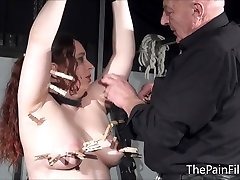 Bbw bdsm slave Nimues tit torments and fierce whipping of crying amateur masochist in hardcore fetish punishments