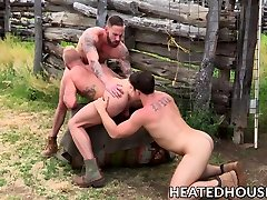 Three nasty fruits have steamy anal fuck fest outdoors
