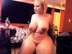 Blonde desi visage shows off her boobs