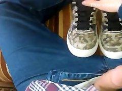 Emo twink cums on sneakers.