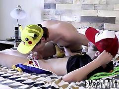 Two twinks in pokemon uniforms loves to fuck bareback style