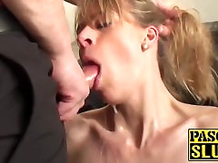 Face fucked milf dayana vendetta candy machine sex slave swallows his warm cock juice