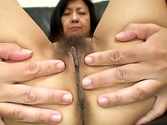 Sweet Japanese granny gets her hot mature body fucked