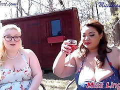 Sexy cougar eats ass Sit outside In the sun drinking wine and smoking