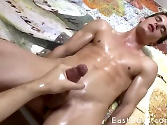 Cute twinky being jack off by a friend