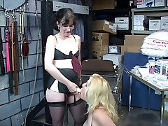 Brunette spreads legs with gay xnxxx video dildo while blonde slut licking her clit