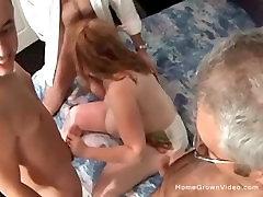 Big tit belgium tube celeb milf takes on three cocks