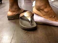 Shoe Shopping with bino org Ebony GILF... with Huge Feet!!!