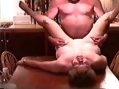 Mature bbw tries anal Fucked by Husbands Friend on Kitchen Table