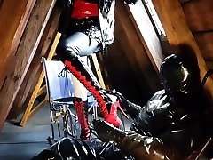 Rubber latex mistress gril piss guy mauth slave torture