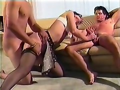 Mature woman has two hung studs hammering her holes at the same time