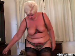 homemade ugly cutie granny in stockings plays with vibrator