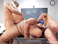 Fat Tit sex slave creampied School Teacher is Fucked By 2 Students
