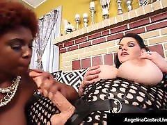 Hot Latina 4some xxxx Angelina Castro StrapOn Fucks shila jambson Maserati!