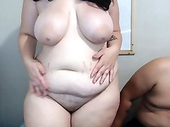 Fat double penetraton with 4ft cum shot plug while masturbating and squirtin on cam