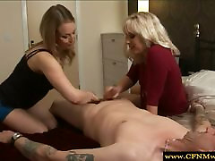Cfnm femdoms play with cock