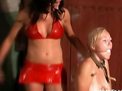 Lesbian slave Lenes kinky domination and dark lesbian clothed water bdsm