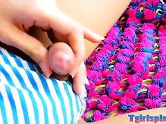 Ladyboy with big breasts enjoys jerking off her shaft