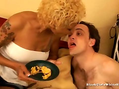 ebony mistress feeding her slave from her mouth