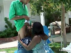 Horny black chick is pleasuring her man passioantely.large lund small gand
