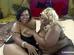 Two fat babes are licking each other passionately.cut asia