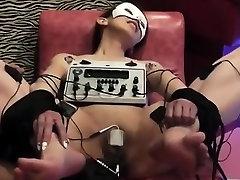Sexy brunette milf enjoys pee hold bulge bladder pleasures