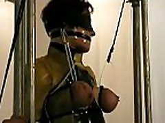 Obedient woman gets tits stimulated in harsh voyeur cabine 3 torment
