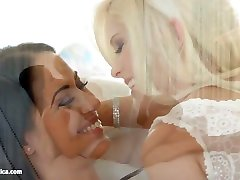 Light kisses - lesbian scene with Candee Licious and Nomi Melone by SapphiX